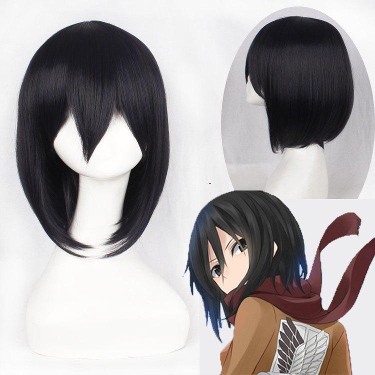 Vogue Medium Straight Bob Style Black Synthetic Mikasa Ackerman Cosplay Wig - BLACK