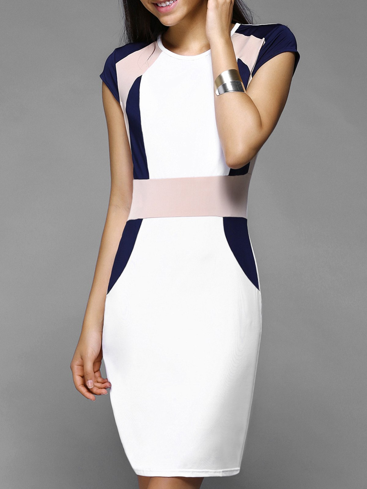 Chic Women's Cap Sleeves Color Spliced Skinny Dress - WHITE XL