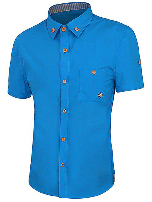 One Pocket Solid Color Short Sleeves Men's Button-Down Shirt - SAPPHIRE BLUE 3XL