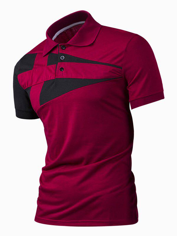 Turn-Down Collar Color Block Rib Spliced Short Sleeve Men's Polo T-Shirt - WINE RED M