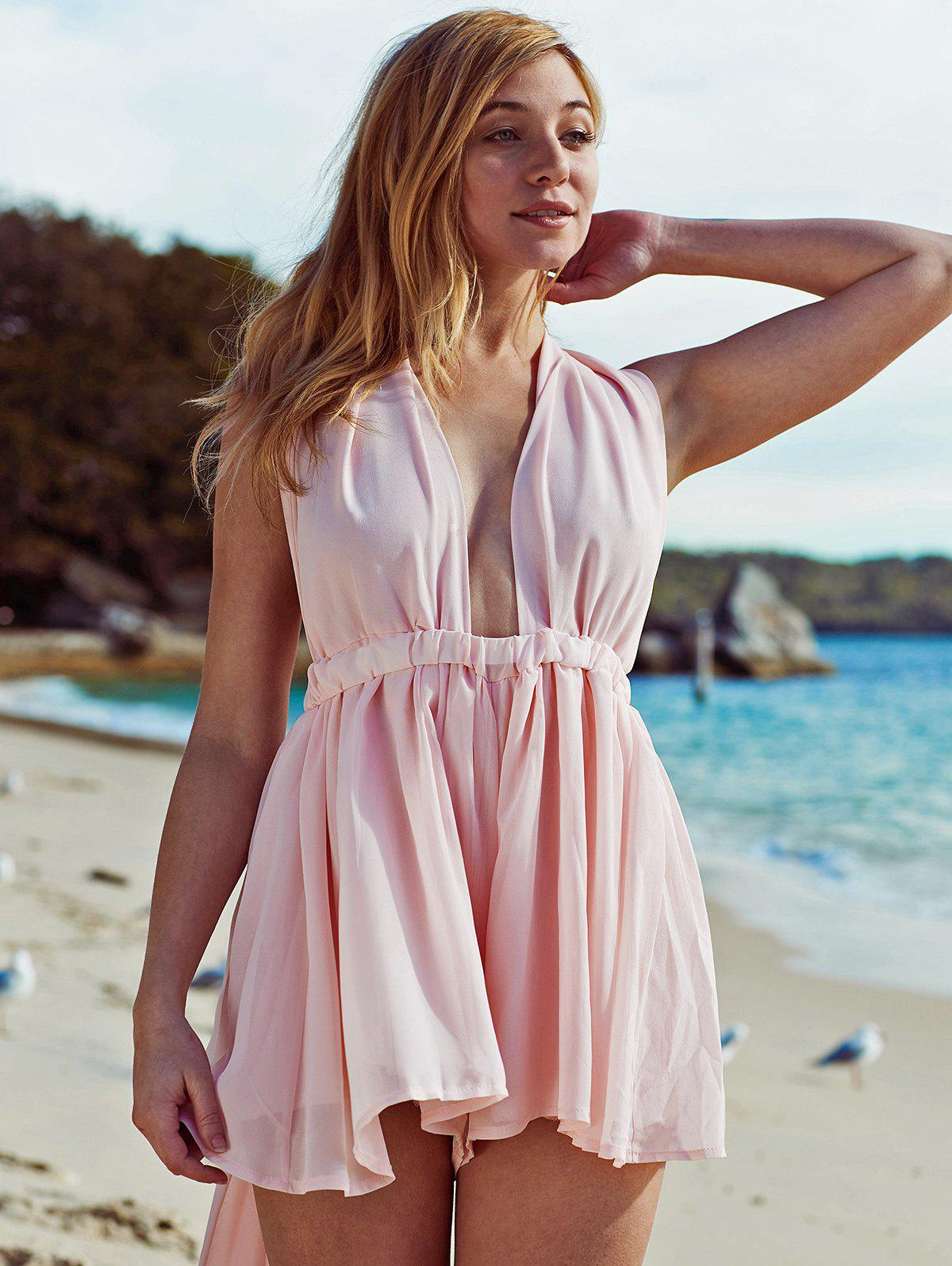 Pink Plunging Neck Open Back Chiffon Romper - PINK XL