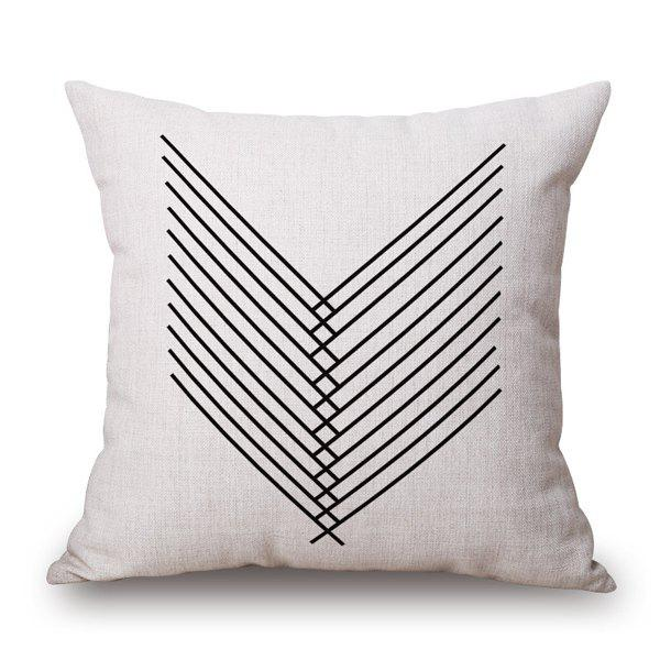 Concise Style Plain Base and Black Line Book Design Pillow Case