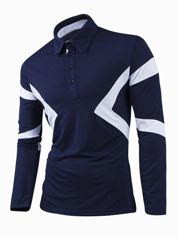 Turn-Down Collar Color Block Splicing Long Sleeve Men's T-Shirt - CADETBLUE M