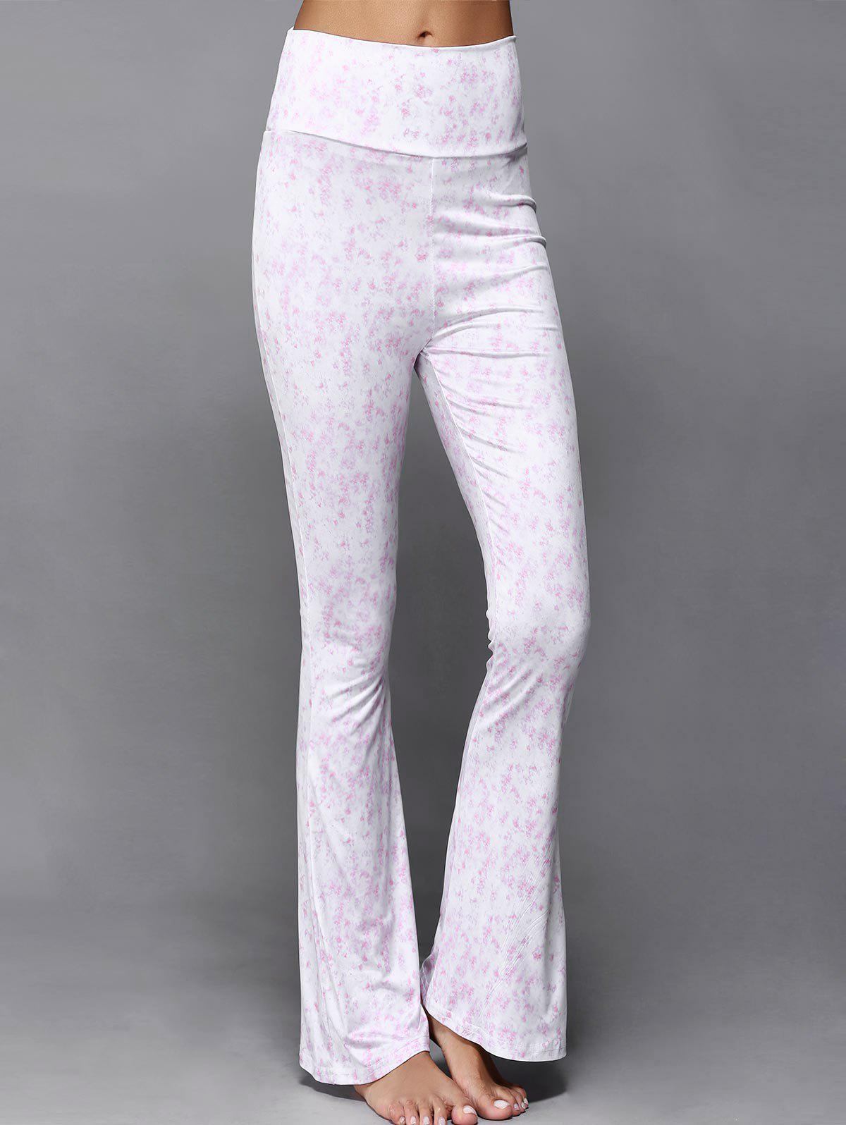 High Waist Print Flare Pants - PINK 2XL