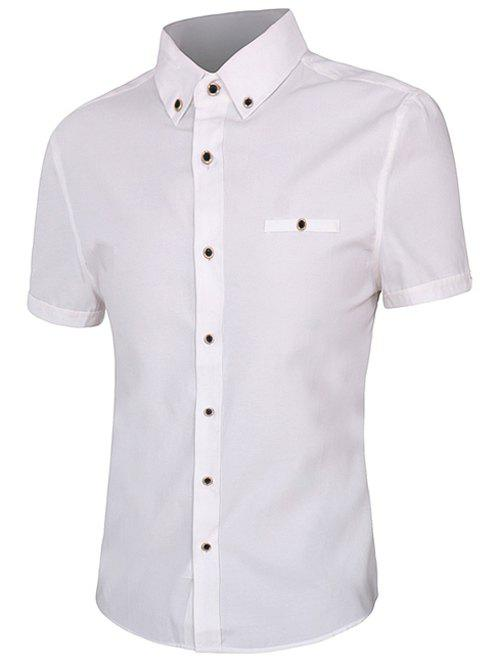 Solid Color Short Sleeves Men's Button-Down Shirt - WHITE 2XL