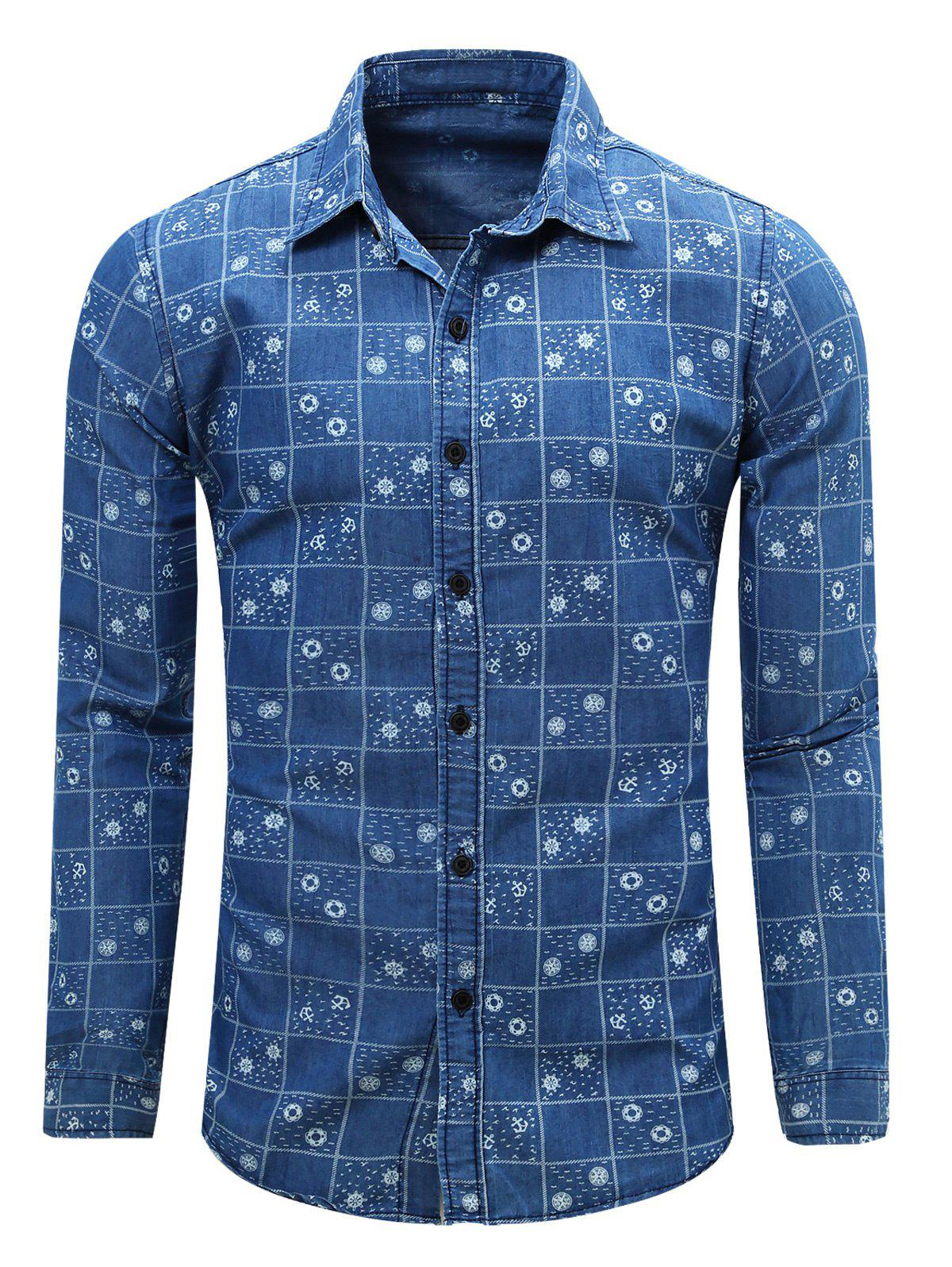 Plaid Print Turn Down Collar Long Sleeve Men's Chambray Shirt - BLUE L