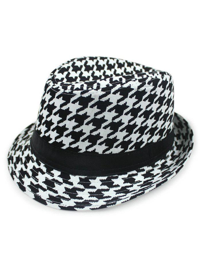 Chic Houndstooth Fedora Hat - BLACK