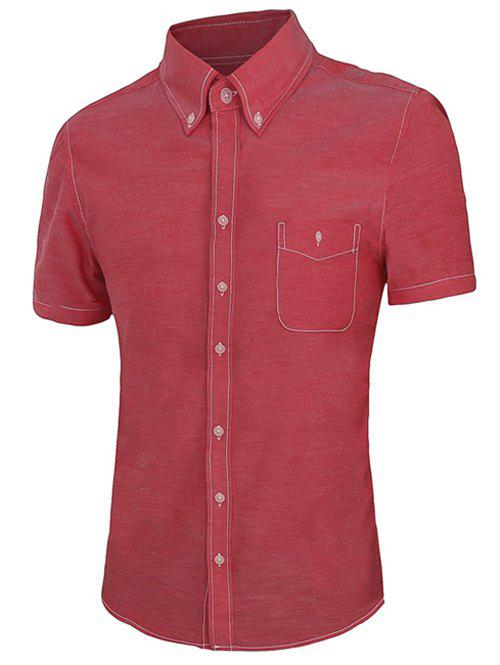 Patch Pocket Solid Color Short Sleeves Men's Button-Down Shirt - RED 3XL