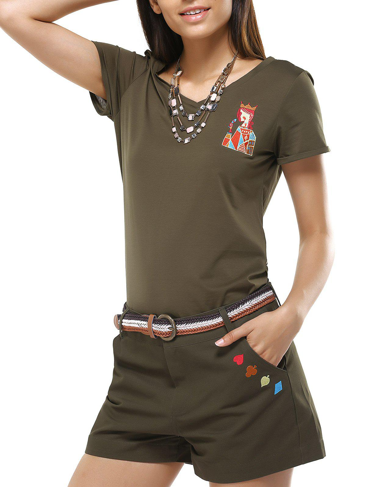 Chic Women's V-Neck Girl Pattern T-Shirt and Shorts Twinset - ARMY GREEN L