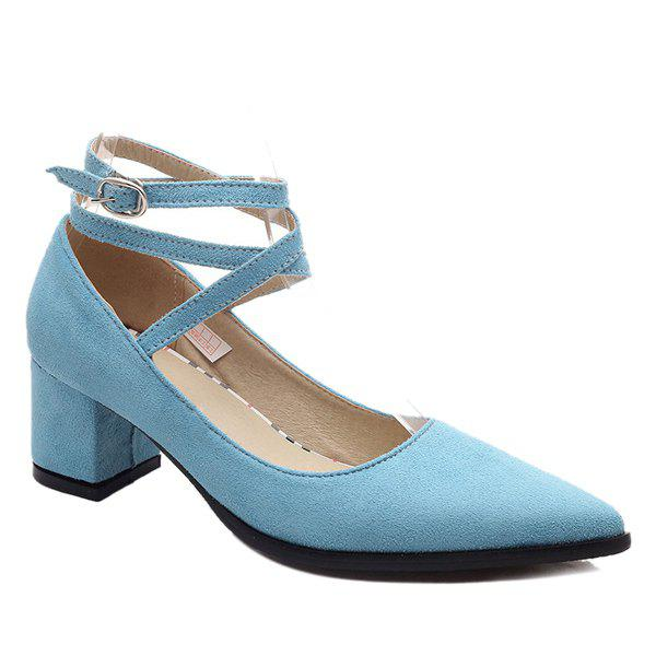 Leisure Suede and Cross Straps Design Women's Pumps - BLUE 39