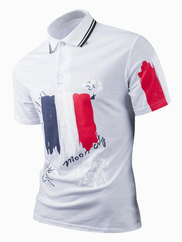 Color Block Print Turn-Down Collar Short Sleeve Polo Shirt For Men - WHITE 3XL