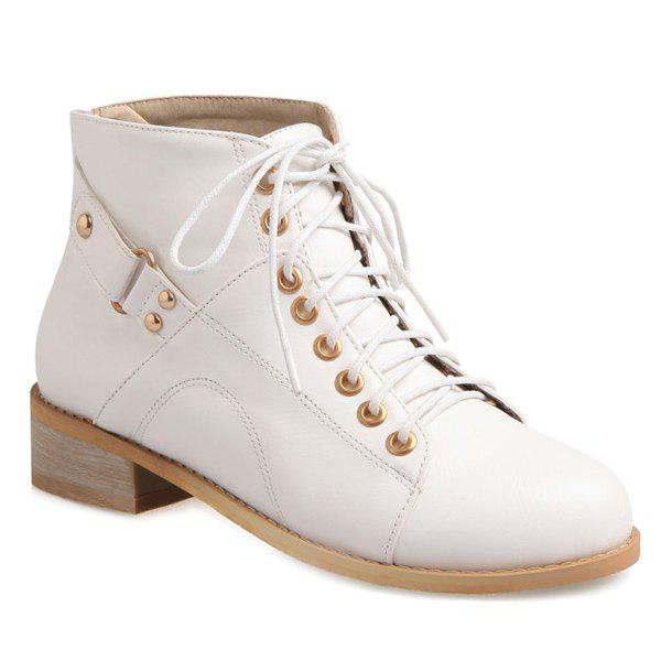 Trendy Tie Up and Zipper Design Women's Ankle Boots