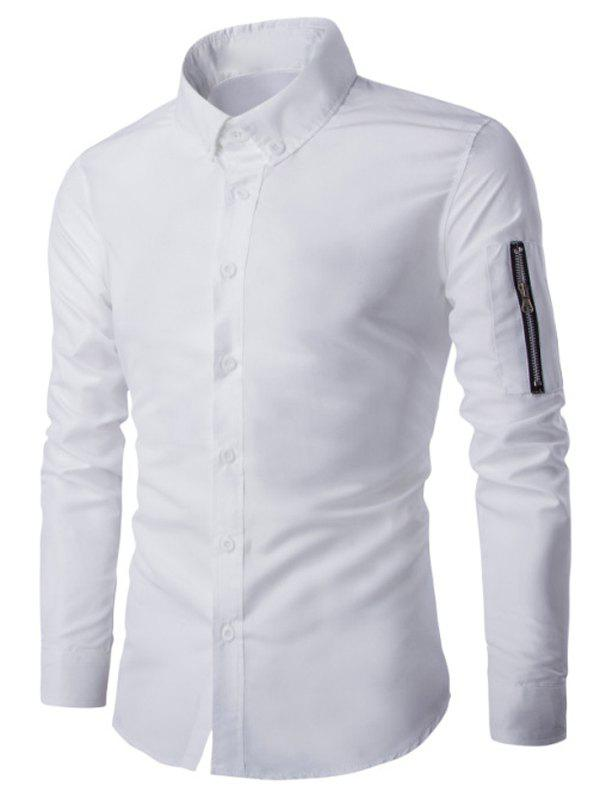 Zippered Solid Color Long Sleeve Men's Button-Down Shirt - WHITE 3XL