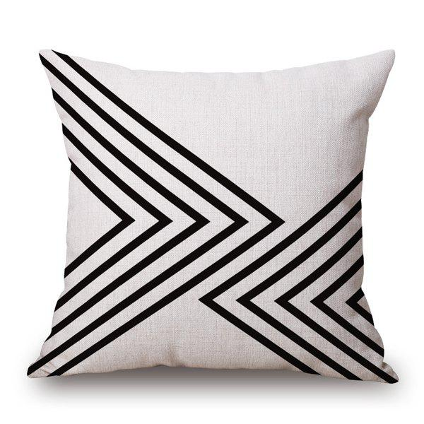 Simple Multilayered Black V Shape Geometry Sofa Pillow Case - WHITE/BLACK