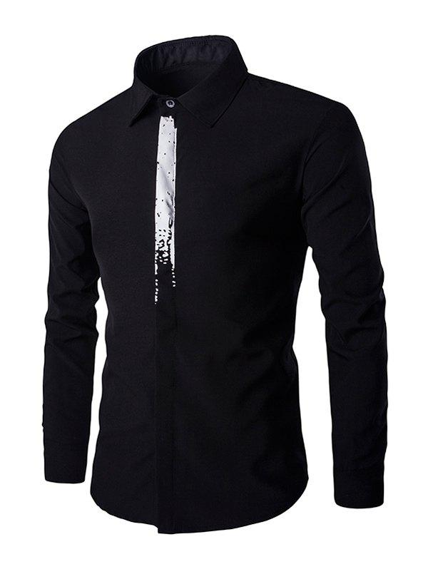 Chic Color Block Concealed Placket Long Sleeves Shirt For Men - BLACK 2XL