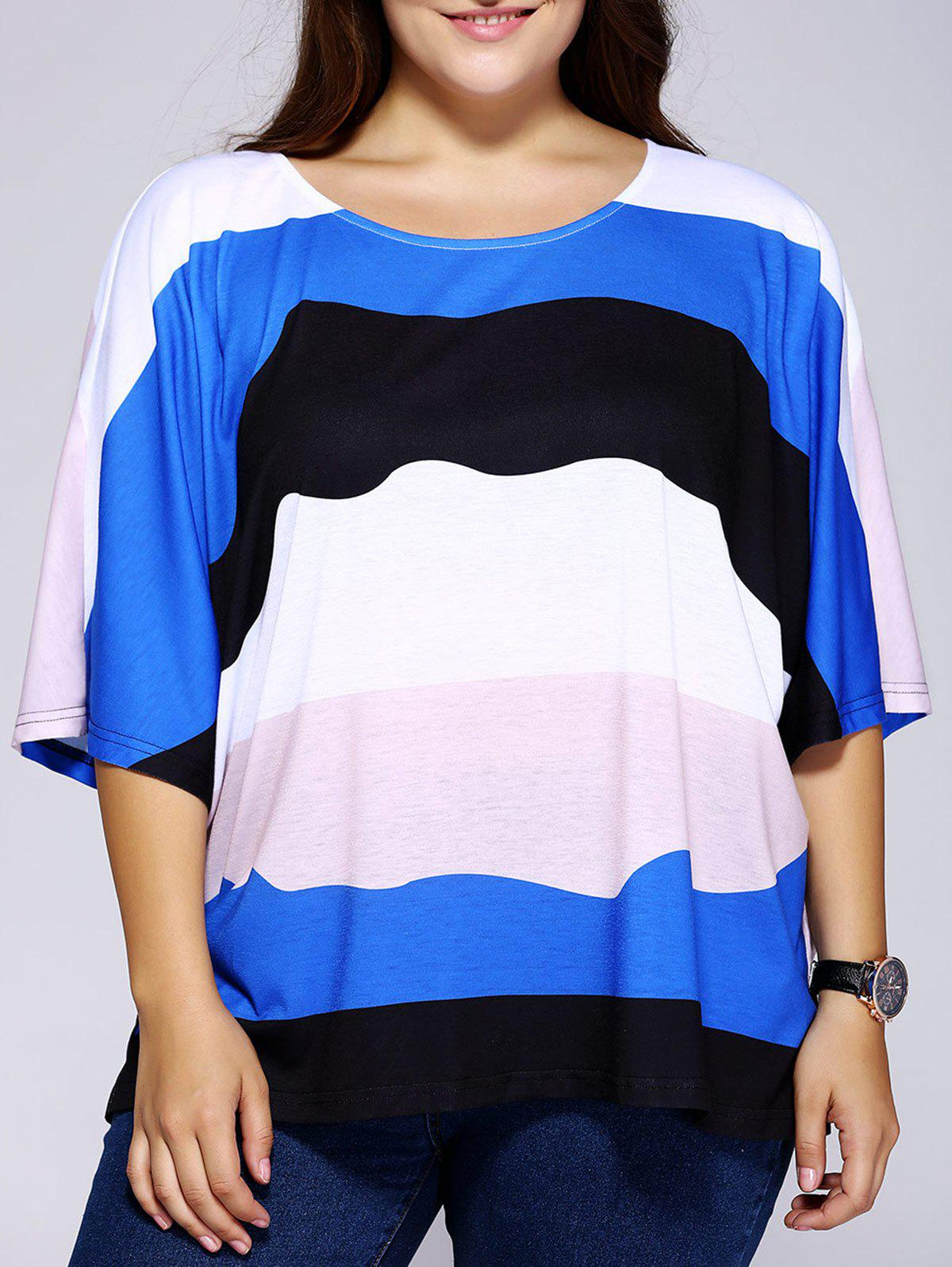 Casual Scoop Neck Loose-Fitting Color Block Stripe Top For Women - COLORMIX 3XL