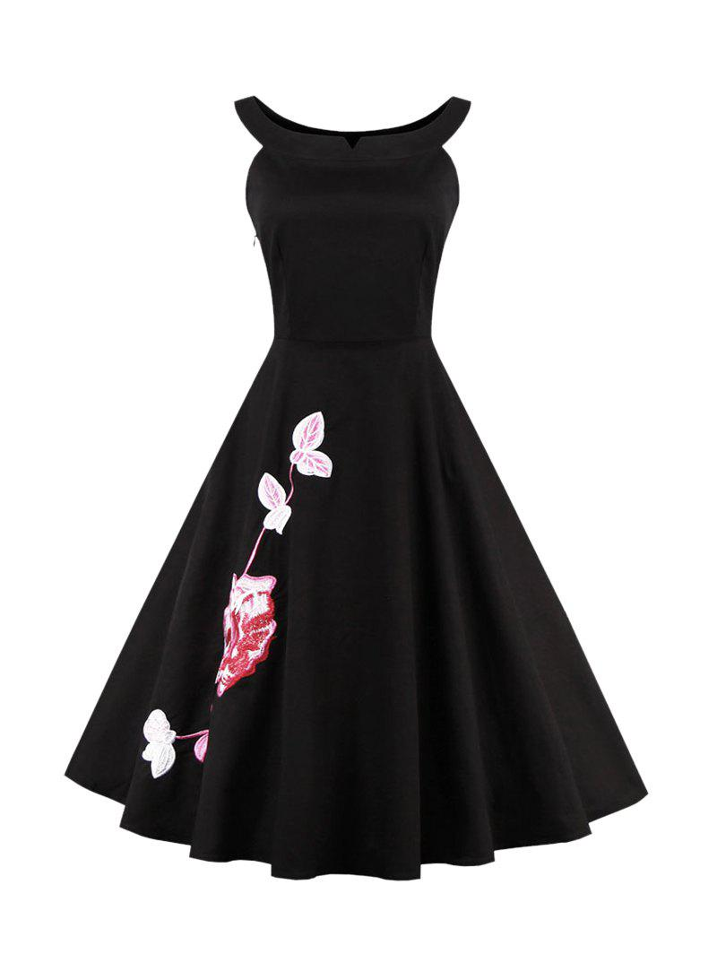 Floral Embroidered High Waisted Dress - BLACK 4XL
