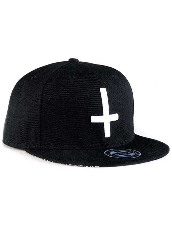 Chic Cross Embroidery Snapback Hat - BLACK