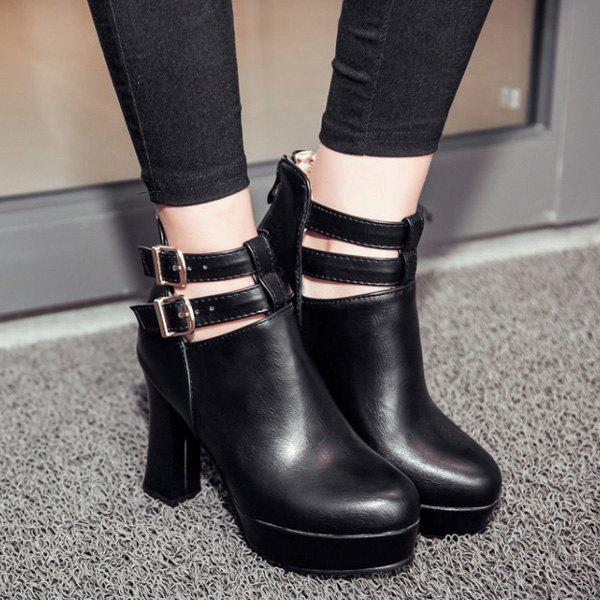 Trendy Platform and Double Buckle Design Women's Ankle Boots - BLACK 38