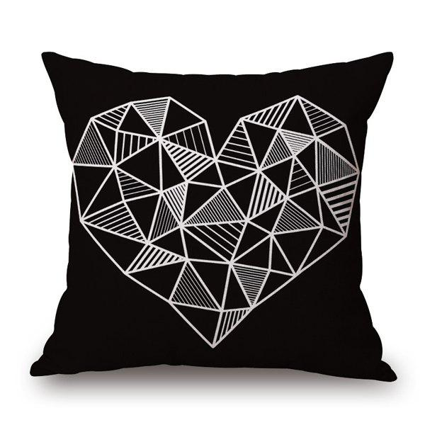 Fashionable Black Base Geometry Tridimensional Heart Design Pillow Case - WHITE/BLACK