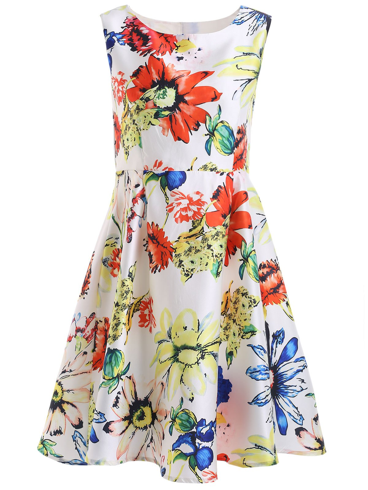 Sweet Floral Pattern Zippered Mini Dress - WHITE L