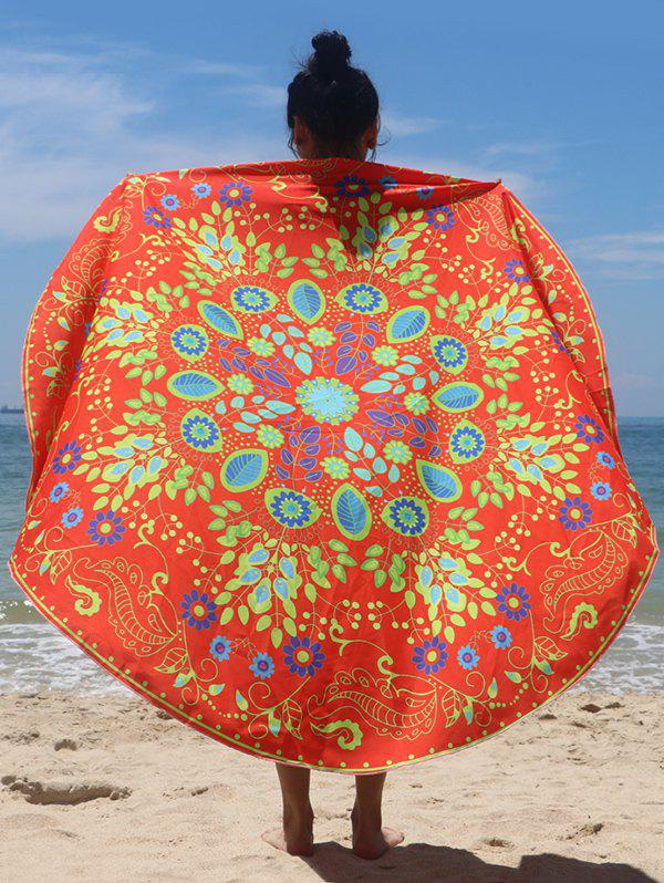 Circle Flower Pattern Beach Cape - JACINTH ONE SIZE