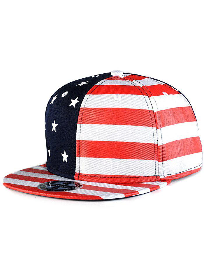 Chic US Flag Snapback Hat - RED