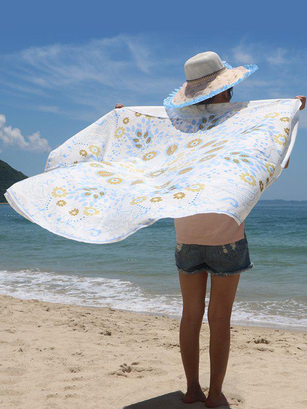 Circle Leaf Print Sun-Resistant Beach Cape - LIGHT BLUE ONE SIZE