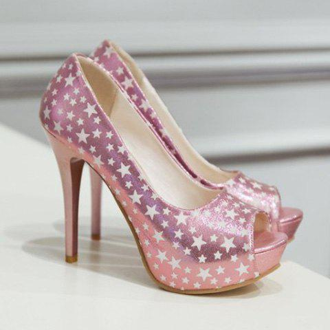 Trendy Platform and Star Pattern Design Women's Peep Toe Shoes - PINK 39