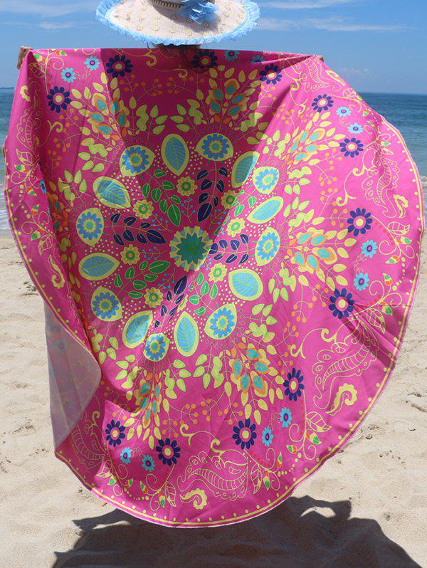 Circle Floral Pattern Beach Chiffon Cover UpWomen<br><br><br>Size: ONE SIZE<br>Color: ROSE RED