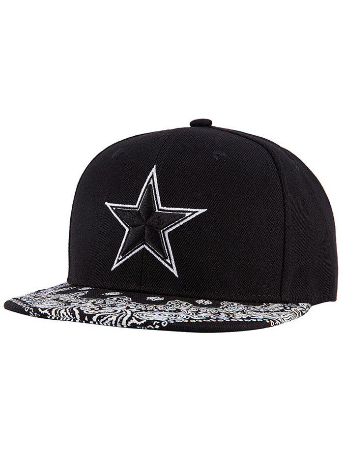 Chic Pentagram Embroidery Paisley Pattern Snapback Hat - BLACK