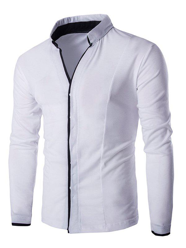 Thin Piping Placket Stand Collar Casual Long Sleeve Shirt For Men - WHITE 2XL