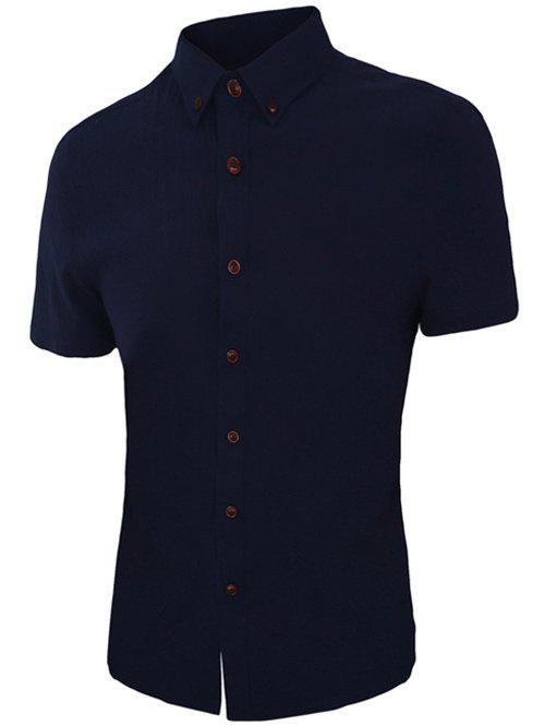 Refreshing Solid Color Short Sleeves Men's Button-Down Shirt - DEEP BLUE 4XL