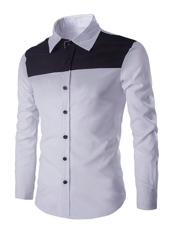 Casual Color Block Spliced Turn-Down Collar Long Sleeve Shirt For Men - WHITE 2XL