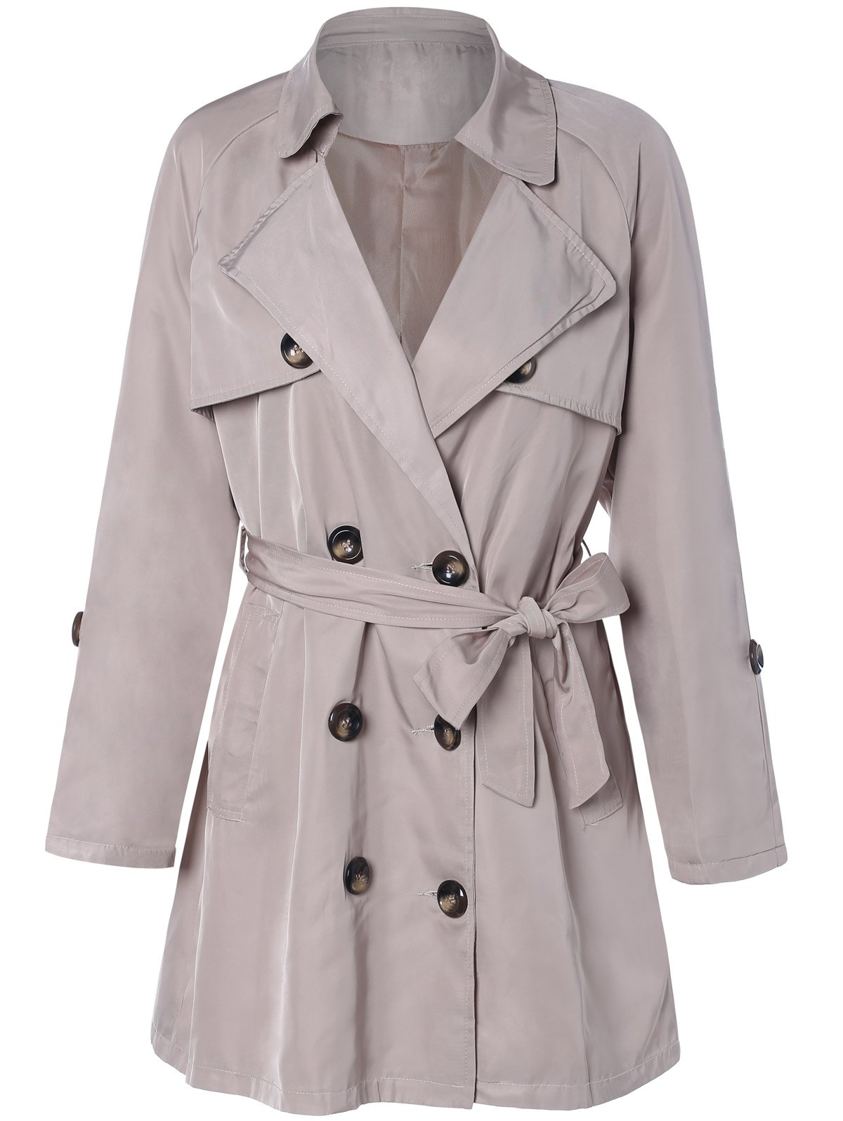 Plus Size Tie Belt Double Breasted Long Trench Coat - LIGHT KHAKI 4XL