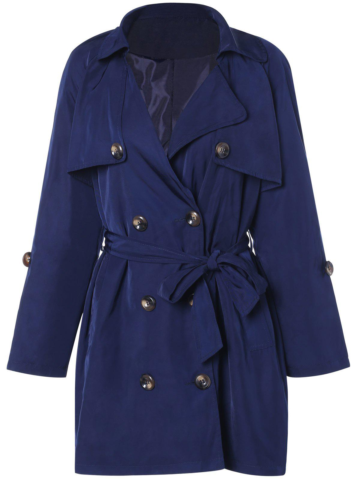 Plus Size Tie Belt Double Breasted Long Trench Coat - DEEP BLUE 3XL