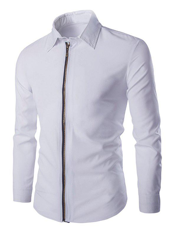 Chic Zipper Openning Turn-Down Collar Long Sleeves Shirt For Men - WHITE 2XL