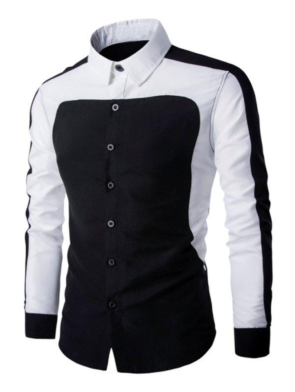 Color Splicing Turn Down Collar Men's Long Sleeve Shirt - BLACK 3XL