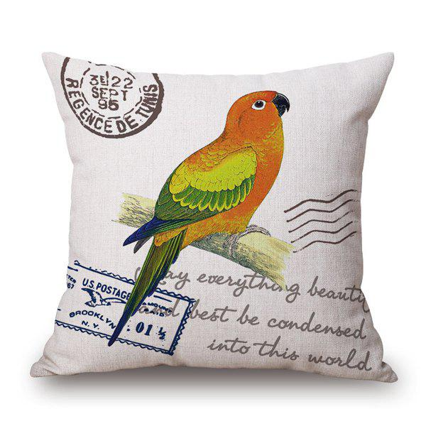 Fresh Dtyle Parrot and English Quote Stamp Design Pillow Case - YELLOW/GREEN