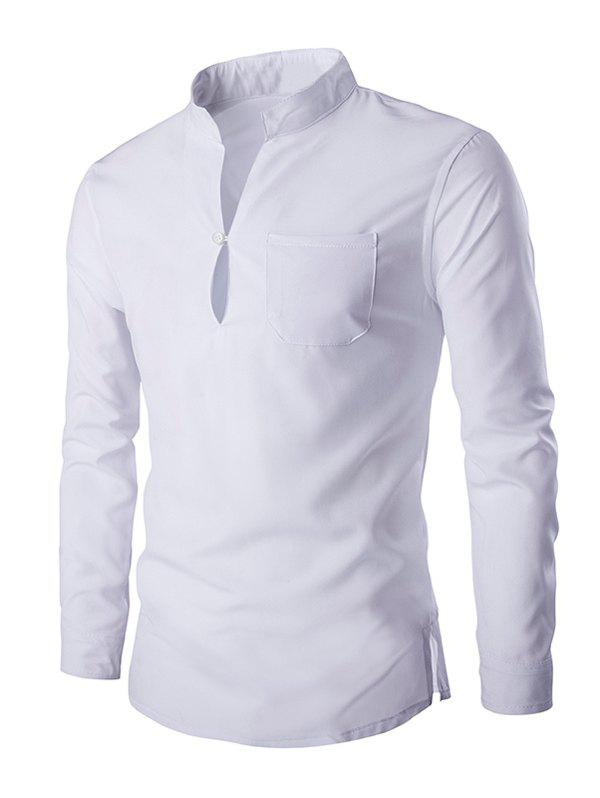 Brief Pure Color Mandarin Collar Long Sleeve Pullover Shirt For Men - WHITE L