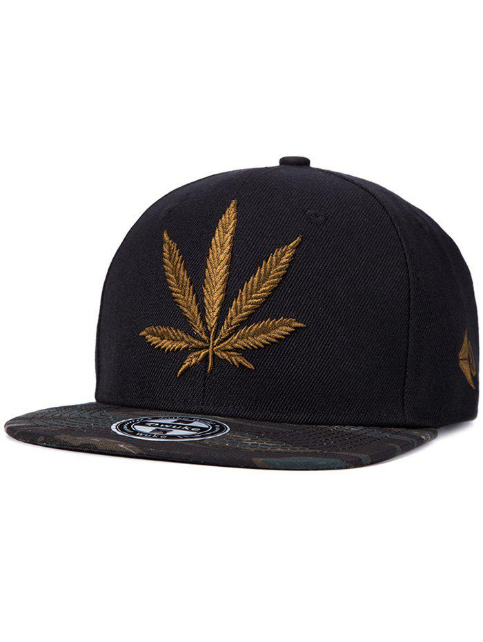 Chic Hemp Leaf Embroidery Camouflage Pattern Snapback Hat - BLACK