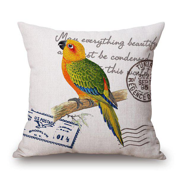Vintage Parrot and English Quote Stamp Design Sofa Pillow Case - YELLOW/GREEN