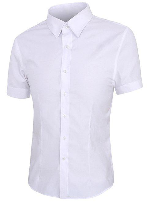 Simple Shirt Collar Short Sleeves Men's Solid Color Shirt - WHITE 4XL