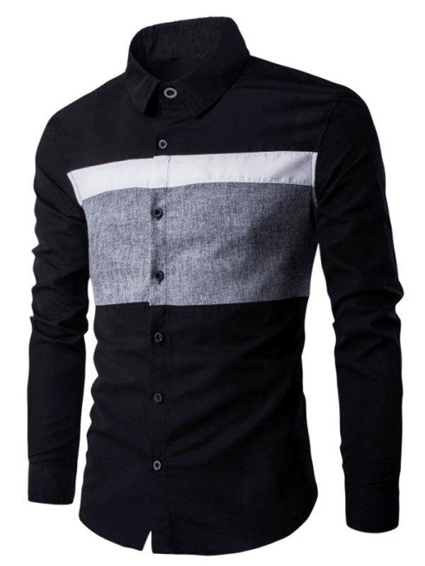 Turn Down Collar Color Spliced Men's Long Sleeve Shirt