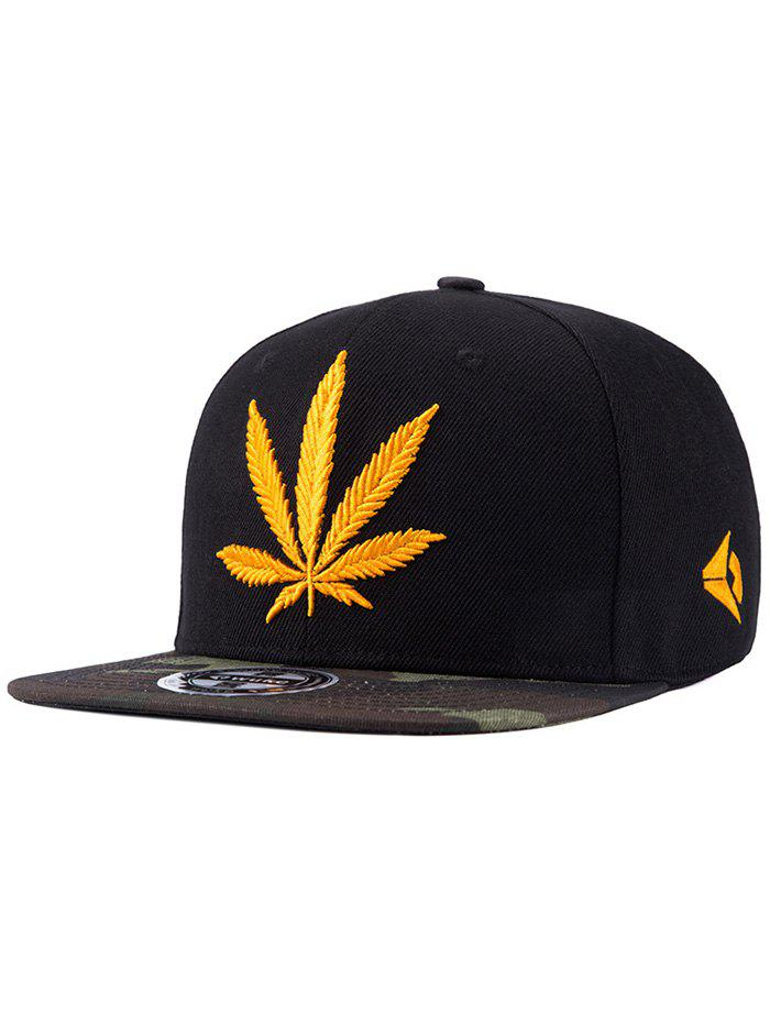 Chic Hemp Leaf Letters Embroidery Camouflage Pattern Snapback Hat - BLACK