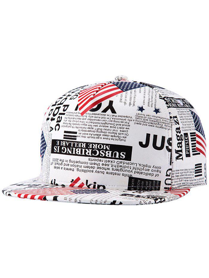 Chic US Flag Newspaper Pattern Snapback Hat - WHITE