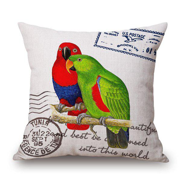 Retro Pair Parrot and English Quote Stamp Design Sofa Pillow Case - RED/GREEN