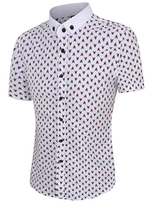 Floral Printing Short Sleeves Men's Button-Down Shirt - RED XL