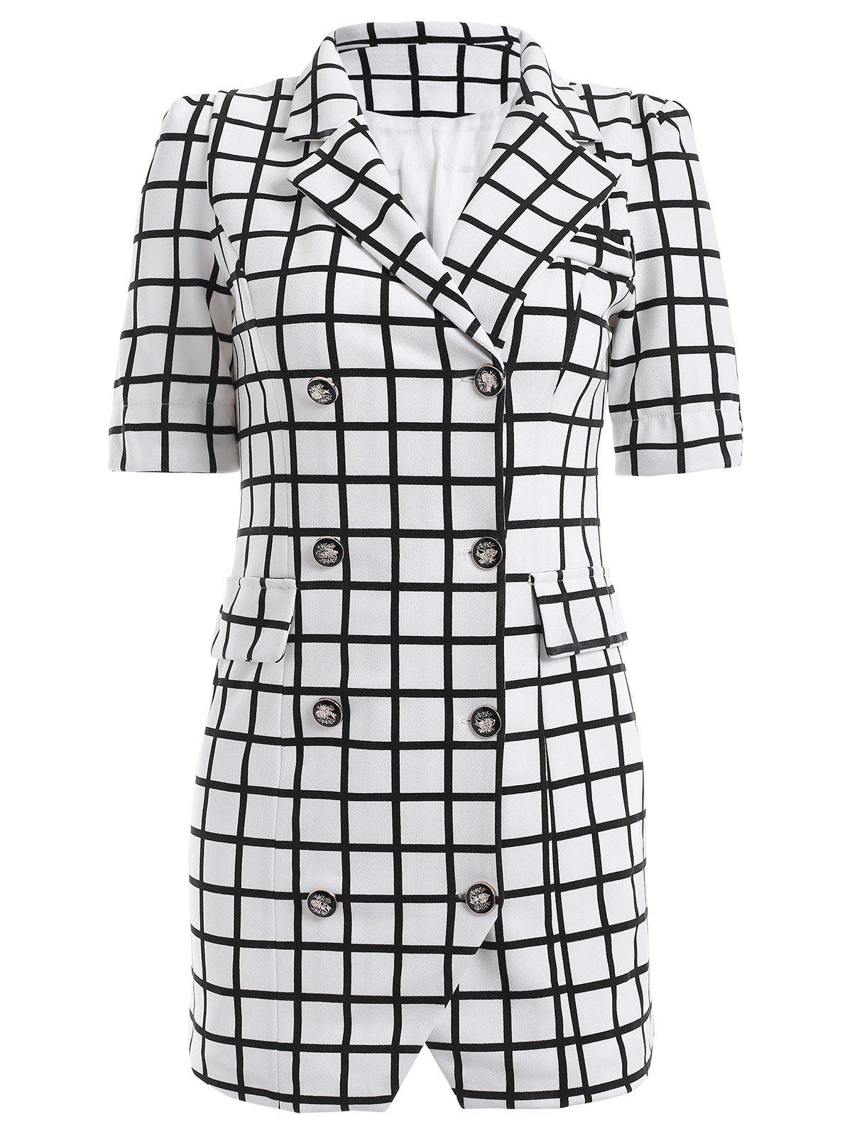 Double-Breasted Plaid Lapel Collar Sheath Dress