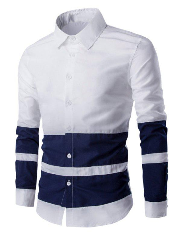Turn Down Collar Color Splicing Men's Long Sleeve Shirt - WHITE L